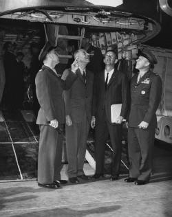 Marine Air Station Tustin - Lighter-than-Air base in Tustin, January 21, 1963. From left to right: Col. Abblett, commanding officer; Dr. Bob Brown, Exchange Club president; C. M. Featherly, County Supervisor; and Colonel Anderson.