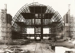 Construction of one of the blimp hangers - Marine Corps Air Station - Lighter-than-Air Base